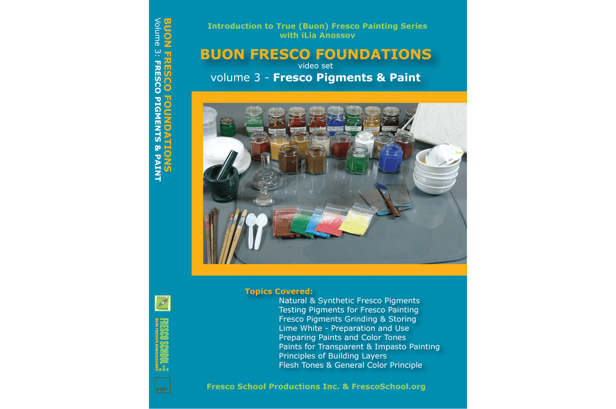 Fresco painting pigments and paint video tutorial by iLia Fresco (Anossov) ISBN 978-0-9822689-3-3
